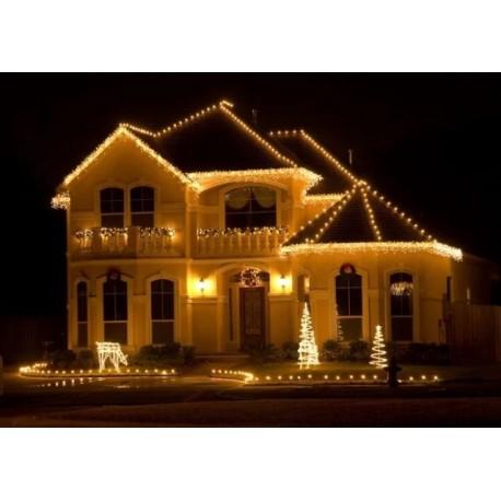 Vianočné exterierové led ozdobné osvetlenie domu - teplá biela 6,6m