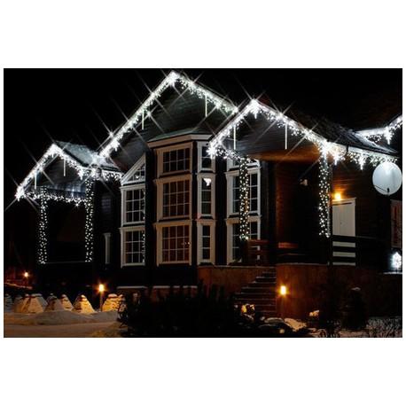 Vianočné exterierové led cencúle na osvetlenie domu - studená biela 20m + flash efekt studená biela