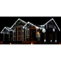 Vianočné exterierové led cencúle na osvetlenie domu - studená biela 14m + flash efekt studená biela