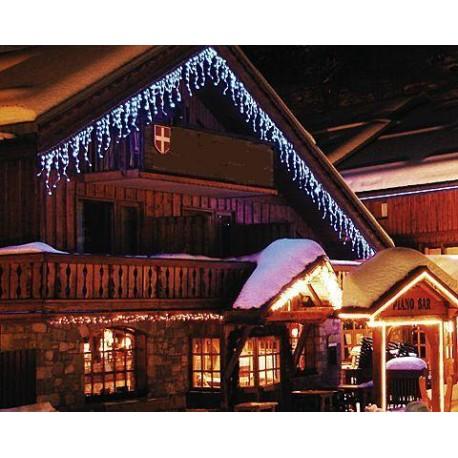 Vianočné exterierové led ozdobné cencúle osvetlenie domu - studená biela 5m