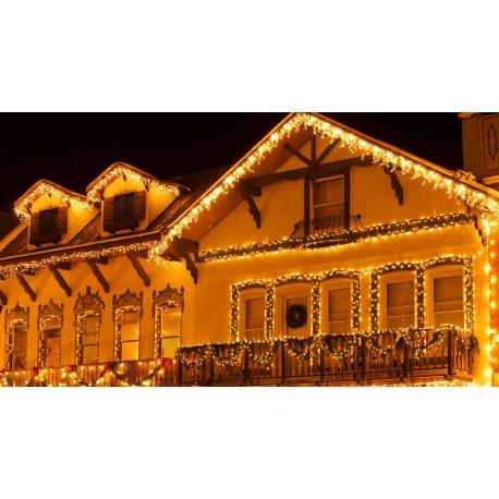 Vianočné exterierové led cencúle na osvetlenie domu – teplá biela 20m + flash efekt studená biela