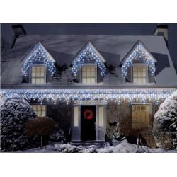 Vianočné exterierové led cencúle osvetlenie domu - studená biela 18m + flash efekt