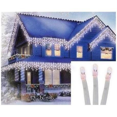 Vianočné exterierové led ozdobné cencúle osvetlenie domu - studená biela 10m