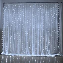 Svetelná záclona mikroled kvapky - studená biela 2mx2m
