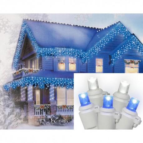 Vianočné led osvetlenie domu modré cencúle 20m + flash efekt studená biela