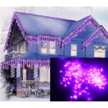 Vianočné exterierové led ozdobné osvetlenie domu - fialové cencúle 6,5m