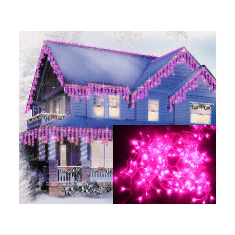 Vianočné exterierové led ozdobné osvetlenie domu - ružové cencúle 6,5m