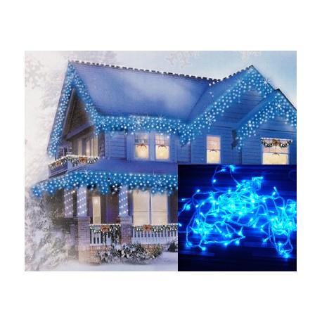 Vianočné exterierové led ozdobné osvetlenie domu - modré cencúle 6,5m